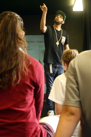 Guerilla poet: Zohab Zee Khan running the workshop with the rhythm and physicality of a rapper.