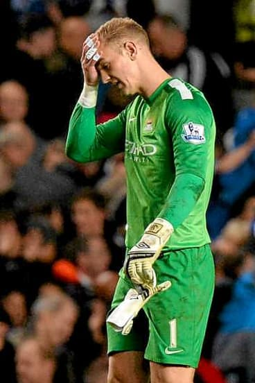 Dejected: Hart after his error cost Manchester City a point against Chelsea.