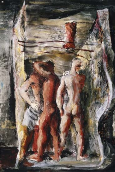 Graphic art ... <em>Shower in a ruin</em>, a 1945 pen, brush and ink work by Donald Friend.