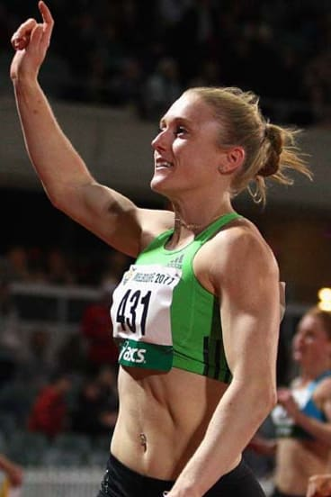 Sally Pearson celebrates winning the women's 100 metres open during the Australian Athletics National Championships earlier this year.