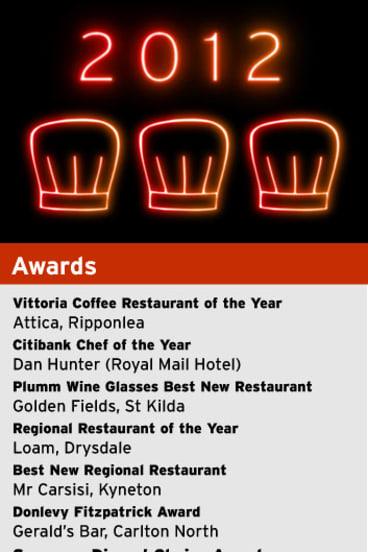 <i>The Age Good Food Guide 2012</i> award winners.