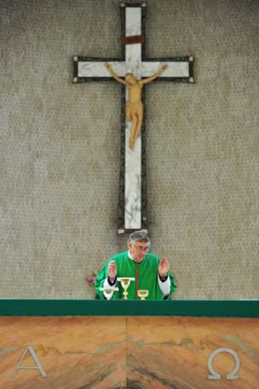 Rev Gerard Diamond will give mass at two churches today.