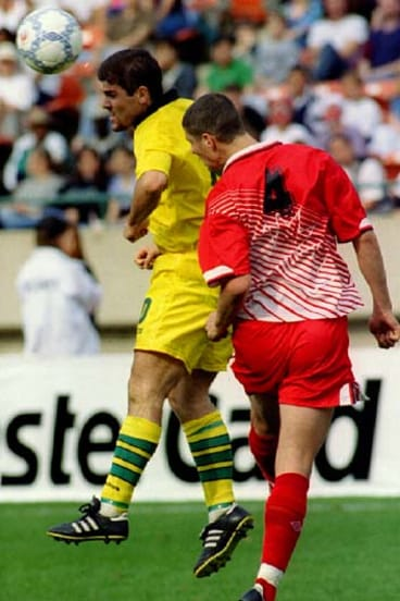 Socking it to them ... Joe Speteri in a World Cup qualifier against Canada in 1996.