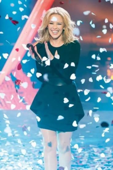 Kylie performing last night on <i>The Voice</i>.