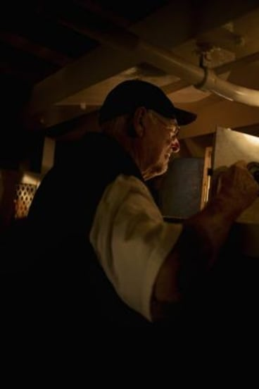 """""""It looked and smelled like the Black Hole of Calcutta, but I felt I had found a Rembrandt in the attic."""": Rod Williams explores some of the compartments on board the RV Pax."""