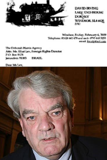Unrepentant . . . David Irving and, top, his letter to Efrat Lev.