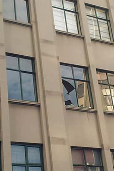Windows in a Wellington building have broken as a result of the earthquake.