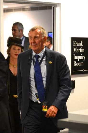 Just the start: Gai Waterhouse and John Singleton leave the stewards' inquiry at Randwick on race day.
