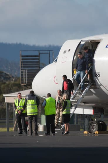 The first group of asylum seekers was brought to Pontville detention centre in Tasmania in September.
