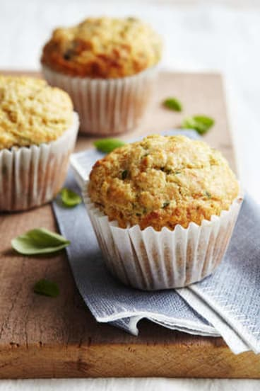 Savoury snack … fewer muffin tops with these olive and basil muffins.