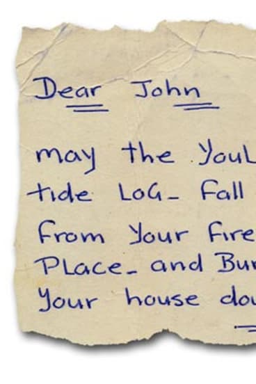 Not your average friend: Words from a Christmas card (below) that Chopper sent to John Silvester in 1990.