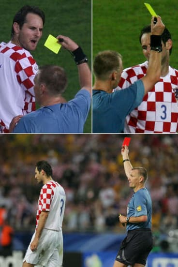 Infamous moment ... referee Graham Poll books Croatia's Josip Simunic three times during the 2006 World Cup.