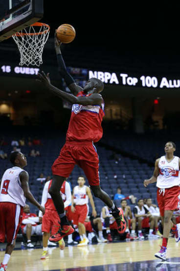 Talent to burn: Thon Maker goes to the hoop during the NBPA Top 100 Camp in June at John Paul Jones Arena in Charlottesville, Virginia.