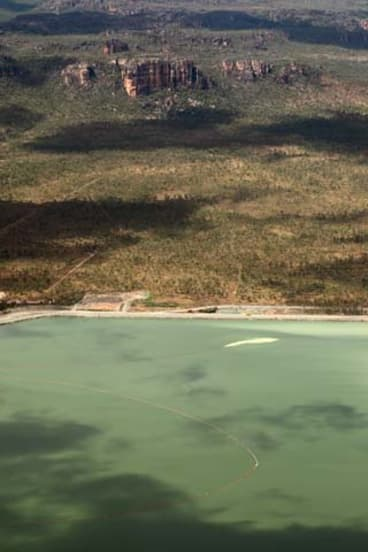 Ranger uranium mine in Kakadu National Park yesterday, where the dam is almost overflowing.