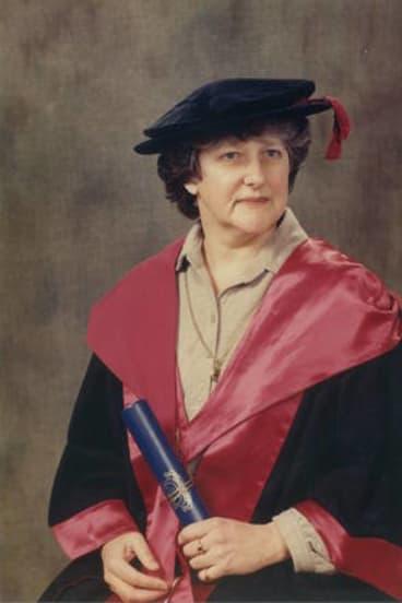 Elizabeth Wood-Ellem graduating with a PhD in history in 1982.