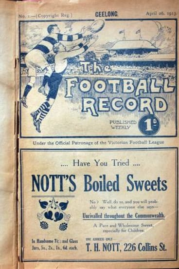 One of the editions of the <i>Football Record</i> on display in the exhibition.