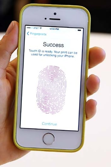 Touch ID in action on the iPhone 5s.