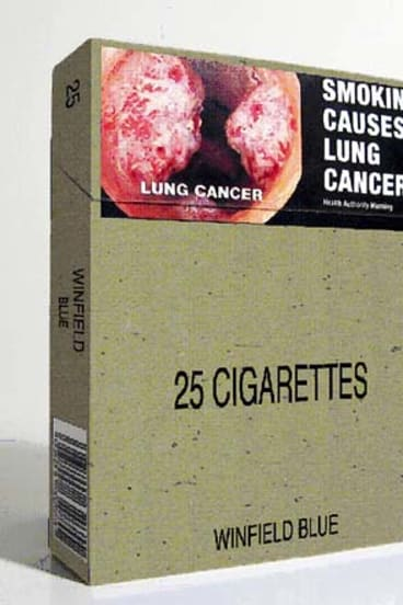 A box of cigarettes with generic packaging.