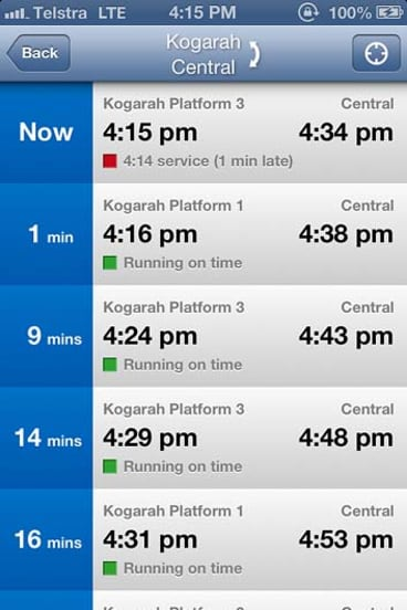A screenshot of Trip View and it showing real-time train information.