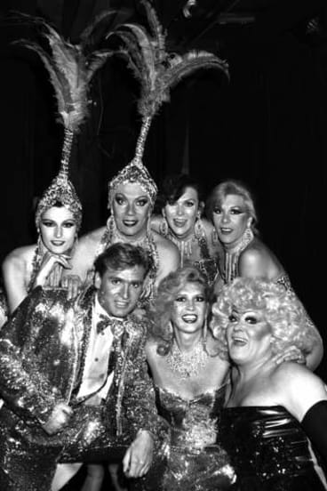 On stage with the Les Girls troupe in 1988.