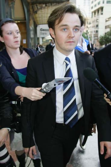 Matthew Newton leaves court after his conviction for assaulting former girlfriend Brooke Satchwell was quashed.