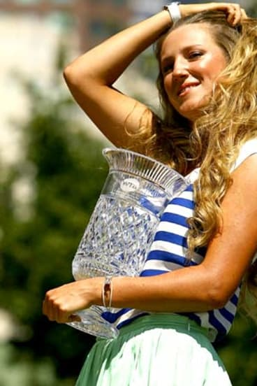 Bubka's girlfriend  and world number one Victoria Azarenka of Belarus after winning the Australian Open in 2012.
