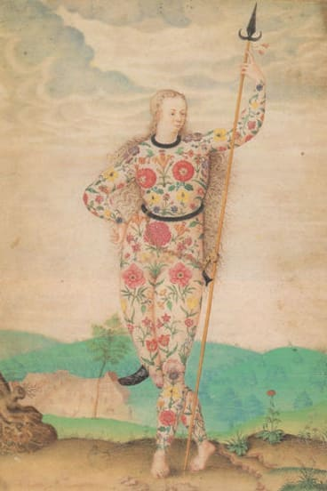 Jacques Le Moyne de Morgues, Young Daughter of the Picts, c. 1585; watercolour and gouache, touched with gold, on parchment, 26x18.6cm.