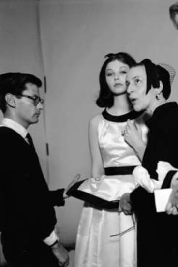 Fashion photographer Richard Avedon and influential fashion editor of Harper s Bazaar, Diana Vreeland, supervise a fashion shoot of jewellery at Tiffany & Co.