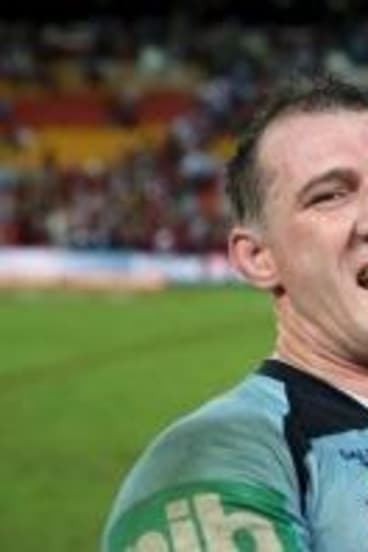 Paul Gallen with his son Cody on Wednesday night.