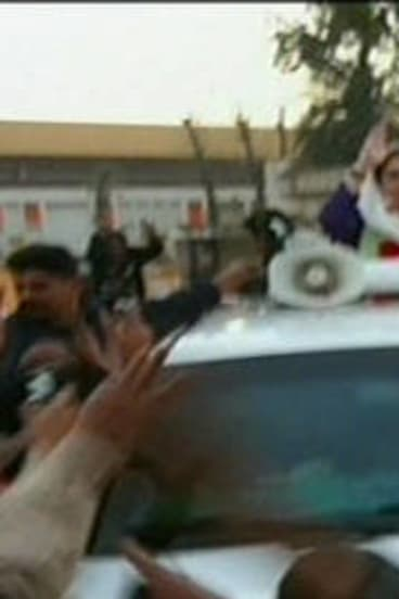 Benazir Bhutto moments before being assassinated on December 28, 2007.