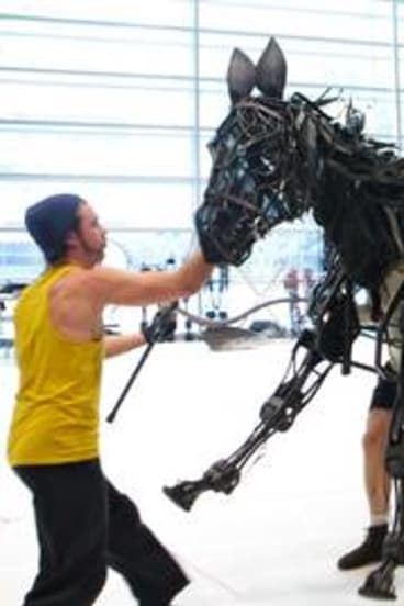 Puppeteers bring life and movement to the wicker and steel stars of <i>War Horse</i>.
