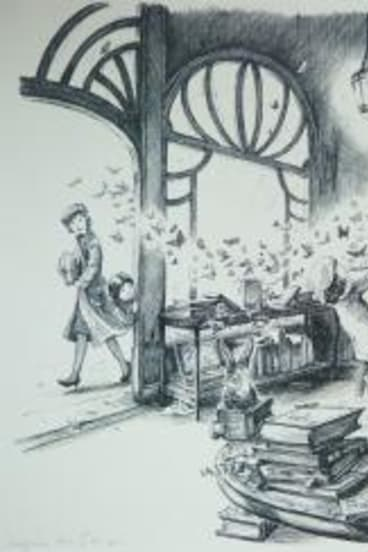 An illustration showing Hurt's trademark detail and imagination.