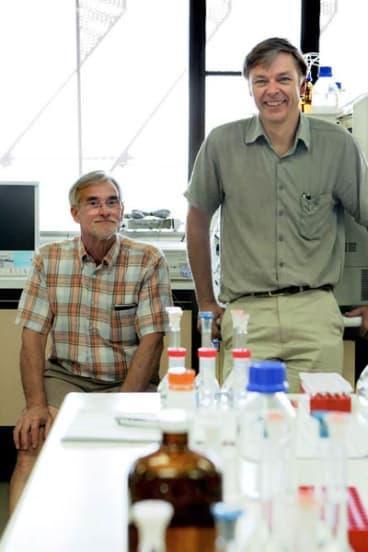 Victoria University researchers Associate Professor Maurie Trewhella (left) and Professor Andrew Smallridge.