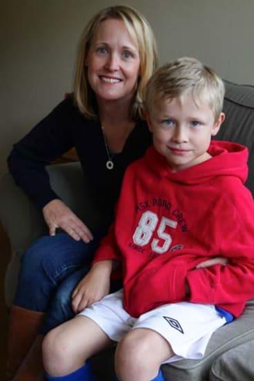 Enterovirus survivor: Nathanael Cachia, 7, with his mother Caileen.