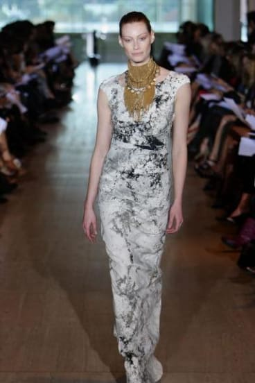 Alyssa Sutherland models Lisa Ho during Sydney Fashion Week in 2010.