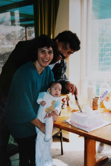 All together then … Mundine and then wife Lynette with their daughter Garigarra in 1992.