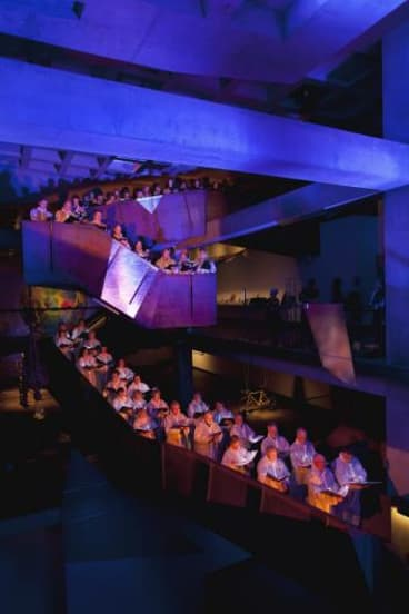 """Like a bunch of angels"": The Tasmanian Symphony Orchestra Chorus sing at Tasmania's Museum of Old and New Art."