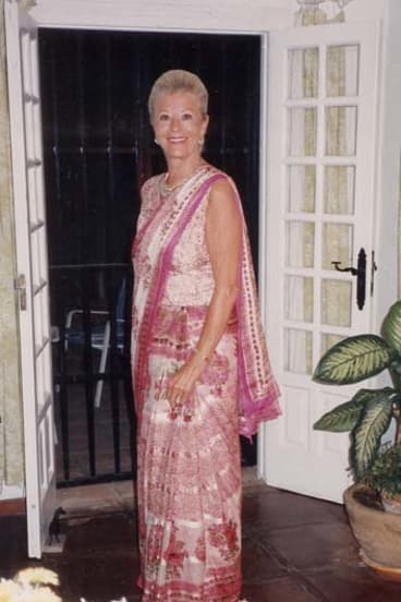 Poised: Gina Narayan wearing a sari.