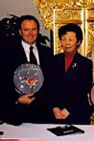 Joel Fitzgibbon with Helen Liu (right) in China.