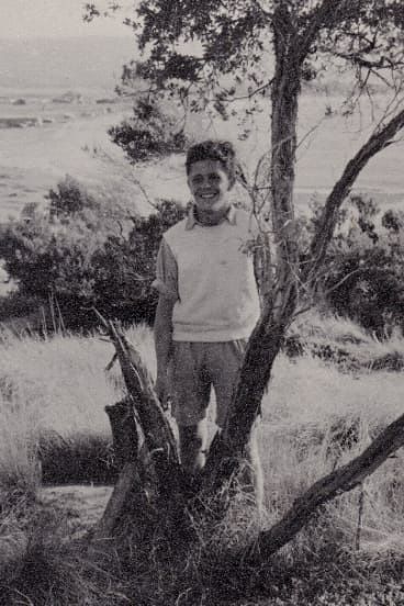 The 15-year-old Chris Wallace-Crabbe at Safety Beach, Dromana in the late 1940s.