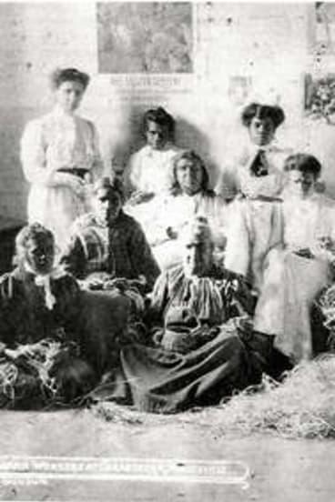 Scenes from Coranderrk: women take part in a 'raffia workshop.'