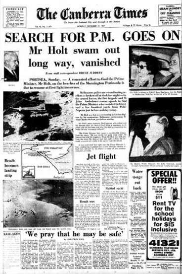 <em>The Canberra Times </em>front page for December 18, 1967. The search for missing Prime Minister Harold Holt goes on. The page was one of many now available online via Trove, thanks to the National Library's digitisation project.