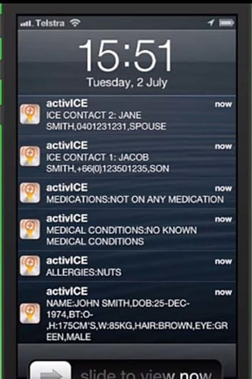 The activICE app displays its owner's medical information and emergency contacts if it has been inside a hospital for more than 10 minutes.