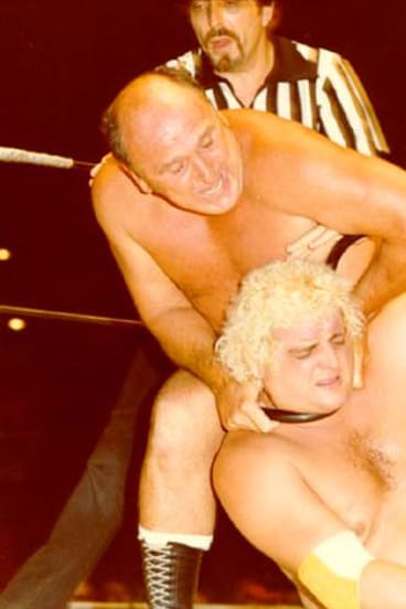 Wrestling bad boy … Herb Gerwig, centre, revelled in his persona.
