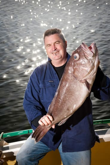 Premium product ... Mark Eather with a bar cod caught off the east coast of Tasmania.