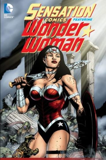 The cover of Sensation Comics Featuring Wonder Woman (issue 48), written and drawn by Australian Jason Badower that features WW officiating a gay wedding.