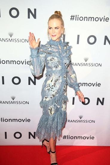 Nicole Kidman on the red carpet of the Australian premiere of <i>Lion</i>.