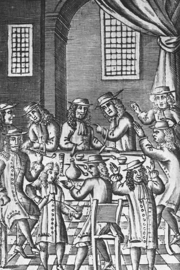 1688, Heated debate in a coffee house on Bride Lane, Fleet Street in London. (Photo by Hulton Archive/Getty Images)