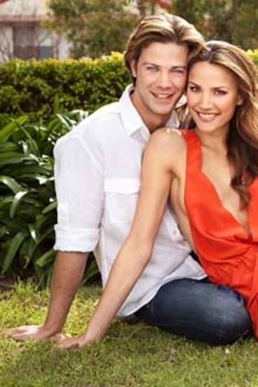 Rachael Finch and fiance Michael Miziner. .
