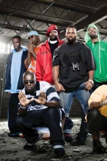 Clash of the titans: Method Man (in green hoodie) isn't quite on the same page as fellow Wu-Tang Clan member RZA (far right, with white headband).